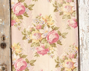 Pink English Cabbage Roses Floral Vintage 1930s Vintage Nubby Barkcloth Fabric Drapes Drapery Curtains Panel