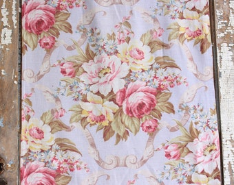 Soft Muted Time Worn Pink Cabbage Roses Vintage Floral Pattern Drapery Panels Curtains