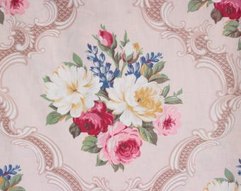 Scrolled English Cabbage Roses Vintage 1940s Drapes