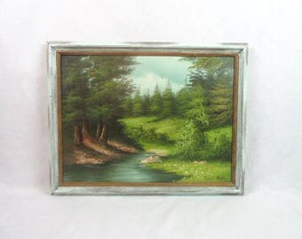 Mid Century Framed Oil on Canvas Woodlands Artist Signed Cabin Decor