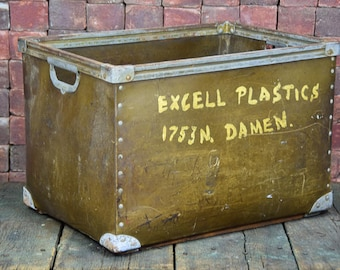 Gorgeous Industrial Excell Plastic Vintage Storage Basket With Beautiful Worn Patina -- Please convo us for shipping quotes