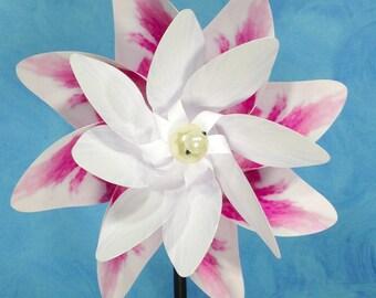 Pink White Rose Flower Double Spin Pinwheel Whirligig Spinner Windmill Fan