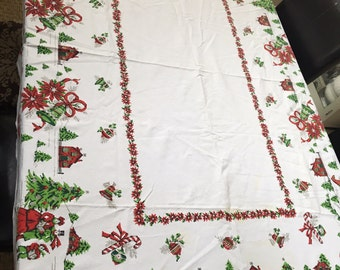Vintage Christmas Kitschy Table Cloths Sleigh Candy Canes Bells Ribbons Bows