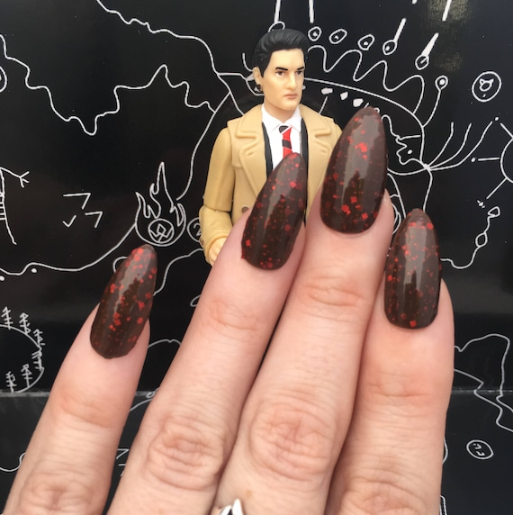 Damn Fine Cup of Coffee and a Slice of Pie- Dale Cooper - Twin Peaks- Brown and Red Glitter Polish