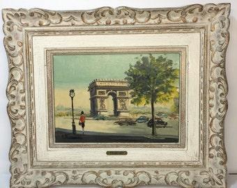 vintage Andre Franchet Painting. Views of Paris Arc de Triomphe . Art. Signed A. Franchet. french Painting