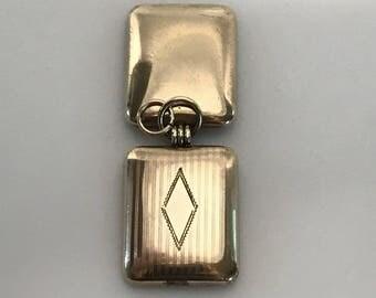 ANTIQUE rectangular gold locket-  victorian  locket  -  vintage fob . mens locket.  1800s jewelry No.001807