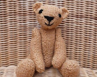 "8"" Hand-Made Teddy Bear Hand knitted Mustard Teddy Bear Hand knitted Traditional Vintage-Style Golden Bear Honey Bear in 100% Wool"