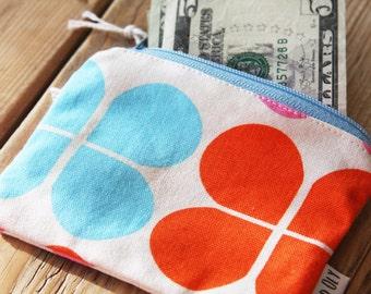 Retro Orange and Blue Flower Pouch - Change Purse - Wallet - Zipper Pouch
