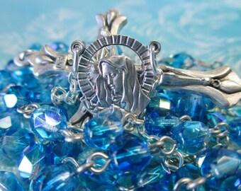 Handmade Catholic Rosary, 6mm Preciosa Czech Glass Aqua and Clear AB Beads, Sorrowful Mother Center, Lily Crucifix