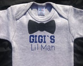 GIGI'S Lil Man, Bow Tie Lil Man,Gigi's Or Mimi's Little Man,Baby boy Shower a Gift,Grandma To Be Gift,Gray or Baby Blue Colered onesie