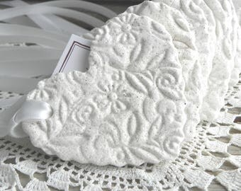 Gorgeous Imprinted Ruffled Heart Salt Dough Ornaments Wedding / Baptism  or Shower Favors