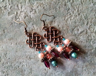 Copper chandelier earrings with garnet, peach pearl and crystal and teal pearl