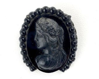 Victorian Mourning Cameo Ribbon Holder Black Molded Glass Brooch