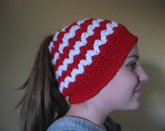Ponytail Hat, Messy Bun Crochet Hat