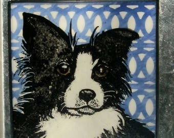 Stained Glass Dog Suncatcher Border Collie  JRN17