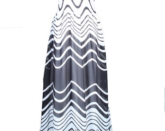Maxi Dress Black White Striped Dress Prom Summer Plus Size Clothing For Women Dress Beach Party Wedding Guest Sundress Casual Holiday V Neck