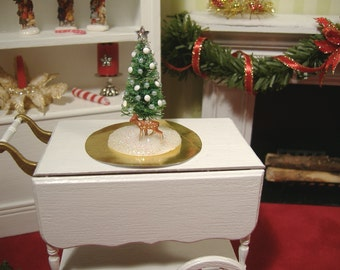 Miniature Christmas Tree With Tiny Reindeer 1:12 Scale