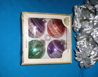 "1960s Glass Ornaments, Set of 4 Large / AUSTRIA / SEARS ROEBUCK & Co. 3"" to 3 1/2"" / Red, Green, Purple / Glitter, Trim"