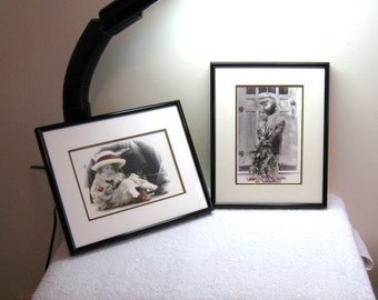 "2 Kim Anderson Child Photo Prints / 1992 Verkerke, Framed & Matted, 8 3/8"" X 10 3/8"" Metal Frames With Glass or Plexiglas"