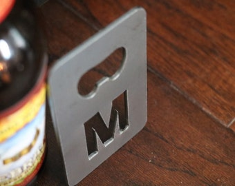 FREE SHIPPING Metal Bottle Opener with letter initial monogram Credit Card Size