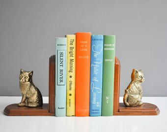 Vintage Wood and Brass Cat Bookends
