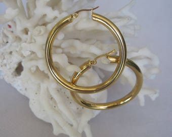Bold and Thick in Yellow Gold High Polish Hoop Earrings