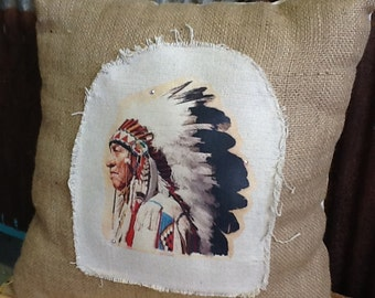 Pillow Native American Chief Burlap Pillow