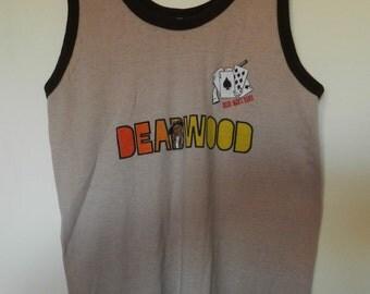 vintage Deadwood tank top Gambling cards gun T Shirt THIN stretchy Western cowboy Wild West jersey 50/50 70s