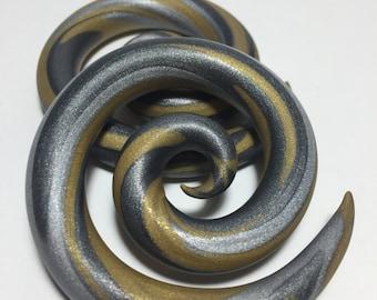 Gold Silver Graphite Spirals/Gauge/Plugs/Metallic/Mixed Metals/Polymer Clay/Custom/Swirl/Gift/Unisex/Mens/Womens/00g/0g/2g/4g/Choose Size