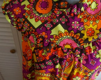 Handmade Maxi Dress S M L Psychedelic Floral Hawaiian Made in USA Boho Hippie Gypsy Bohemian Folk Mod Festival Mumu Tent Dress High Neck