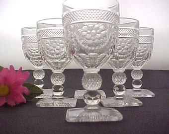 Imperial Glass Crystal Chroma aka Victorian Wines Introduced In 1937, 6 Vintage Depression Stemware, Collectible Glassware, 1930s Wine Stems