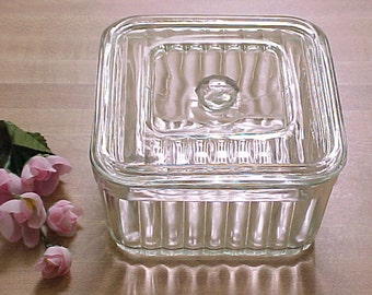 Vintage Square Covered Refrigerator Bowl, 1930s Clear Ribbed Design Glass Kitchen Storage, Sturdy Glassware  w/ Lid for Frig