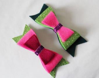 Pink Hair Bow - Pink and Green Hair Bow - Baby Hair Clip -  Glitter Hair Bow - Glitter Hair Clip - Ready to ship