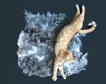 Cruelty Free, Alpaca Cat Bed, Felted Fleece Throw,  Gray, Pet Mat, Natural Bedding, Fur Mat, Dog Bed, Accent Throw, Basket Liner