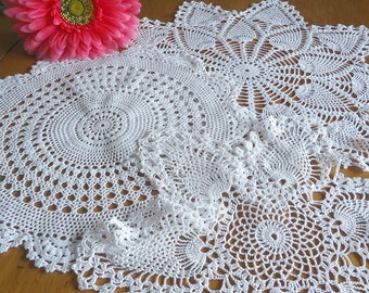 3 Crocheted Doilies Crocheted Doily White Vintage Doilys Doilies  Lot  F9