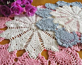 2 Crocheted Doily  Doilies  White Ecru Vintage Doilies Lot  F15