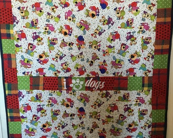 I Love Dogs Handmade Pieced-Throw-Quilt