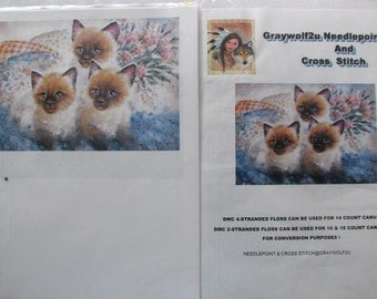 Three Siamese Kittens Needlepoint Or Cross Stitch Chart