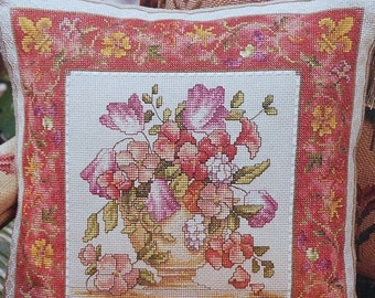 50%OFF Marie Barber FRENCH Floral Pillow or Picture Flowers Botanicals - Counted Cross Stitch Pattern Chart - fam