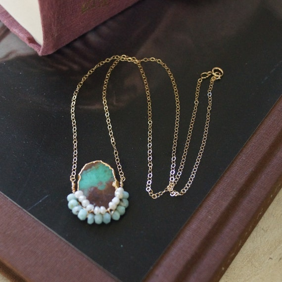 Chrysoprase raw stone necklace