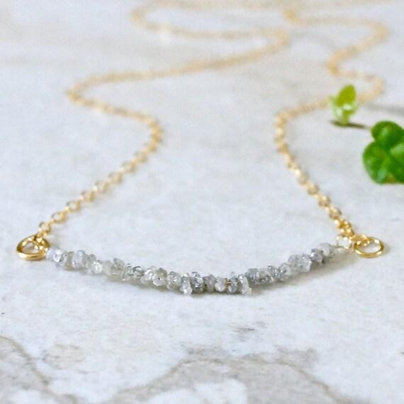 14k / Raw diamond necklace