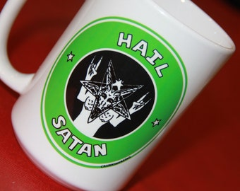 Hail SATAN mug 15oz. dEVIL Starbucks mocking Coffe mug ceramic pentagram baphomet