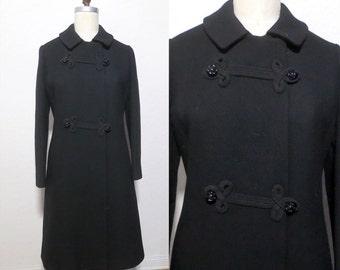 Fantastic 1960s Vintage Black Wool Russian Princess Coat. Winter Jacket. Boho gypsy. Large XL VOLUP