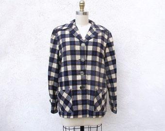1950s Wool Plaid Jacket, Women's Vintage Button Front Shirt Jacket, Bobbie Brooks Blazer