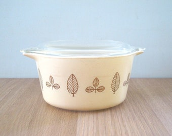 Vintage Pyrex Leaf Buffert Twin Covered Casserole No. 473