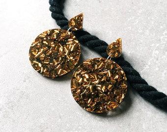 Large bronze laser cut glitter acrylic drop earrings - 'All Nighter'