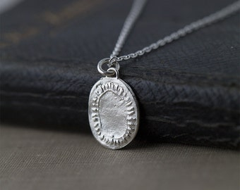 Silver Medallion Pendant Necklace, Sterling Silver Necklace Handmade, Gift for Women, Gift for Her, Handmade Jewelry Gift,