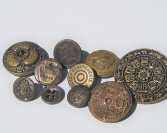 Vintage Metal Button Lot: Ornate, Military, Boy Scout, Uniform Buttons, 10 Brass or Metal Buttons