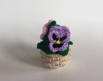 Crocheted Pot of Pansies - Amigurumi - Pansies Plant - Made to Order