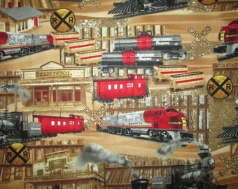 Trains Railroad Signs Depot Tan Red Cotton Fabric Fat Quarter or Listing